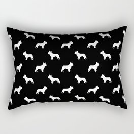 Boston Terrier silhouette black and white minimal dog lover gifts all dog breeds Rectangular Pillow
