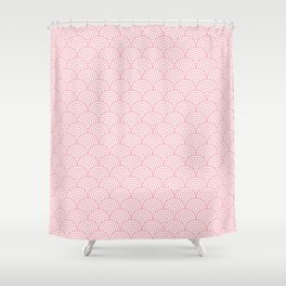 Coral Concentric Circle Pattern Shower Curtain