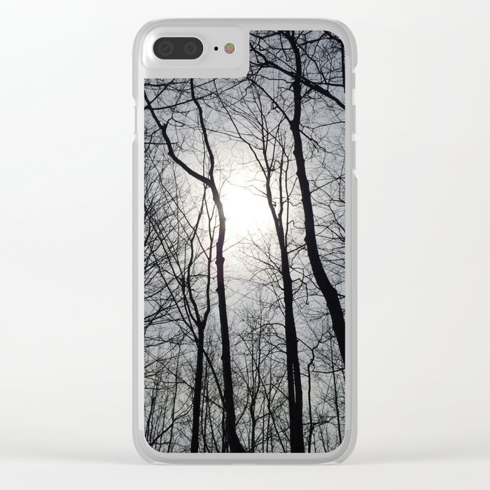 White Sky, Black Trees Clear iPhone Case