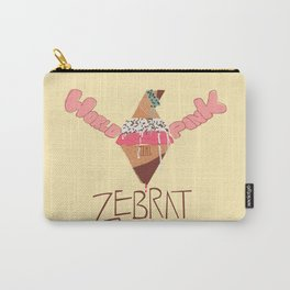 World in Pink - Zebrat Single Art Carry-All Pouch