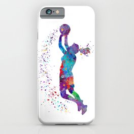 Girl Basketball Watercolor Art Print Sports Poster Nursery Home Decor Kids Room Sports Painting Gift iPhone Case