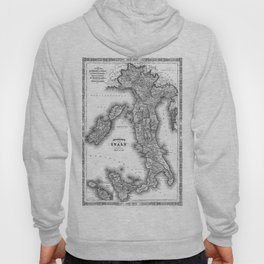 Vintage Map of Italy (1864) BW Hoody