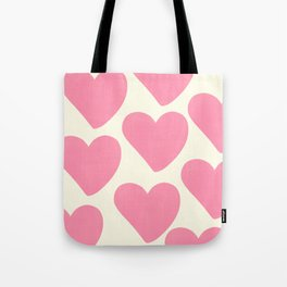 Pink Hearts on Pale Yellow Tote Bag