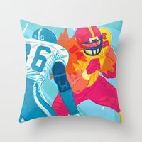 nfl Throw Pillows featuring American Football by felixdrewthis