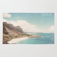 aloha Area & Throw Rugs featuring Aloha by Retro Love Photography