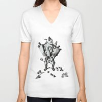 robot V-neck T-shirts featuring Robot by Le_Auris