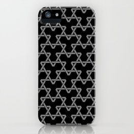 Grey Triangles on Black iPhone Case