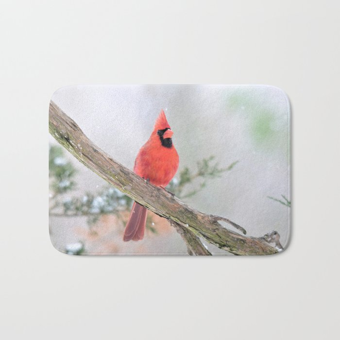 """Say What?"" (Northern Cardinal) Bath Mat"