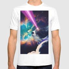 Neko San in Space Mens Fitted Tee White MEDIUM