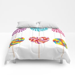 lollipops, colorful spiral candy cane with twisted design Comforters
