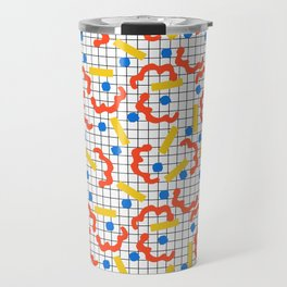 Primal - memphis throwback squiggle circle geometric grid lines dots trendy hipster 80s retro cool Travel Mug