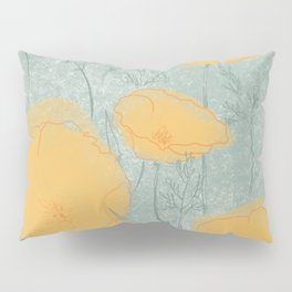 California Poppies in Gray Pillow Sham
