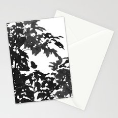 Leaves Silhouette - Black & White Stationery Cards