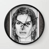 sandra dieckmann Wall Clocks featuring Sandra Bullock in 2005 by JMcCombie