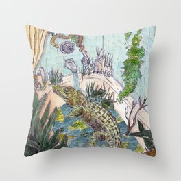Crocodile in the Tub Throw Pillow