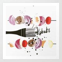 Kebabs | 100 Days of Cookbook Spots Art Print