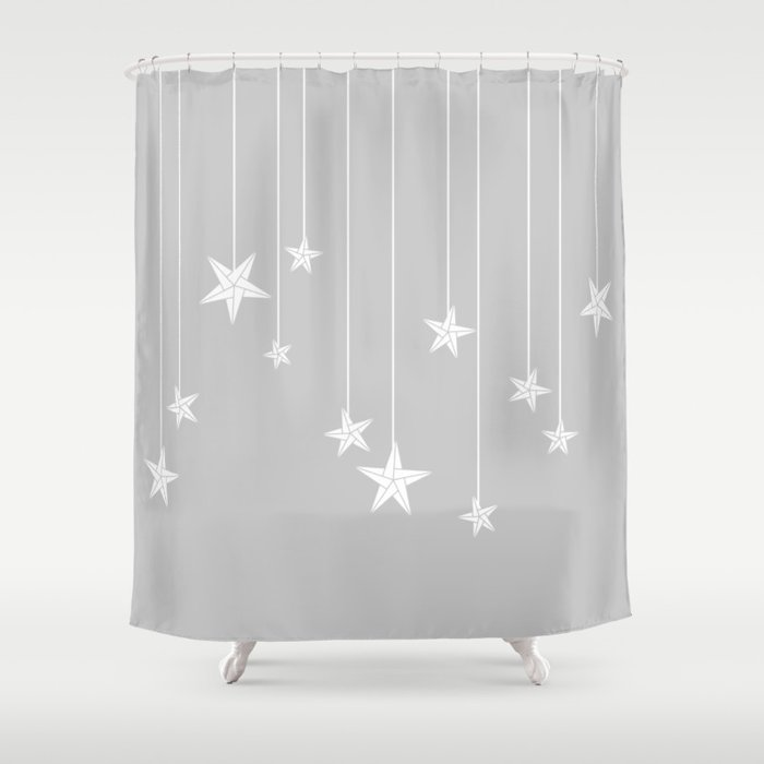 Hanging Stars Shower Curtain By Almostblue