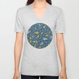 Fern Fronds in Greys and Yellows Unisex V-Neck