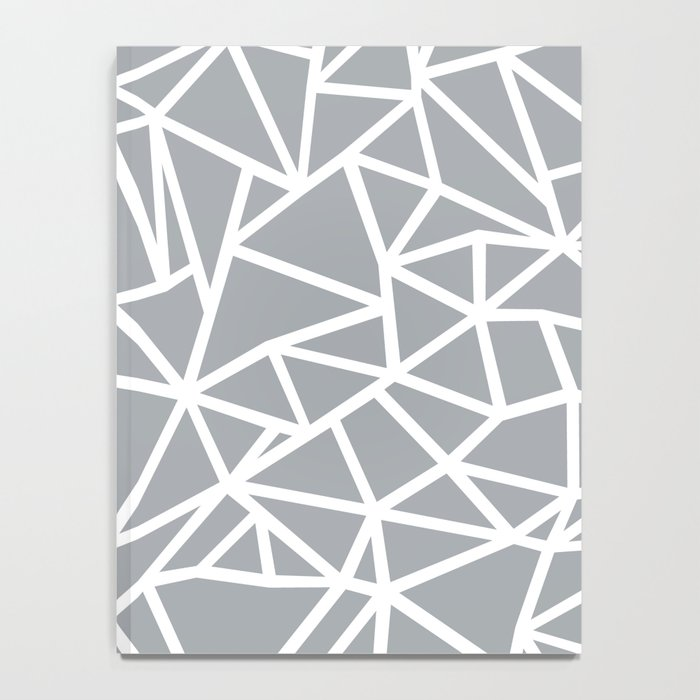 Abstract Outline Thick White on Grey Notebook