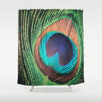 peacock feather Shower Curtains featuring Peacock Feather by Louisa Corbett