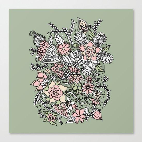 Modern green pink floral handdrawn pattern Canvas Print