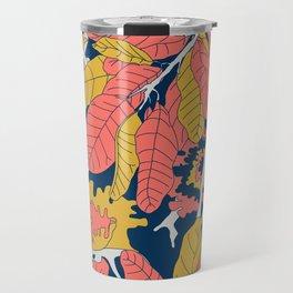 Limited Color Palette Bold Jungle Leaf Floral Travel Mug