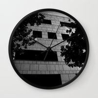 building Wall Clocks featuring Building by Yancey Wells