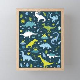 Kawaii Dinosaurs in Blue + Green Framed Mini Art Print