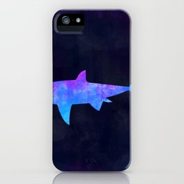 SHARK IN SPACE // Animal Graphic Art // Watercolor Canvas Painting // Modern Minimal Cute iPhone Case