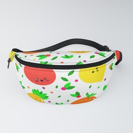 Cute & Whimsical Fruit Pattern with Kawaii Faces Fanny Pack