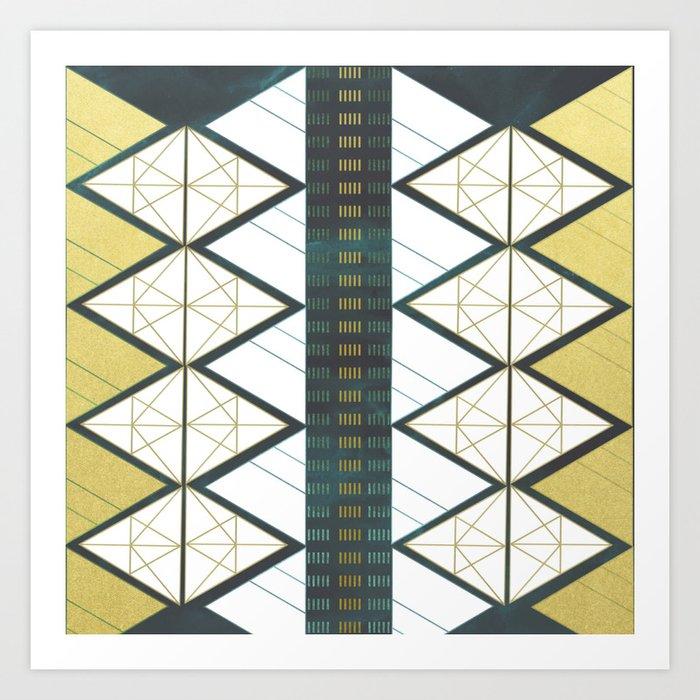 Modern Gold Aqua Geometric Pattern Art Print