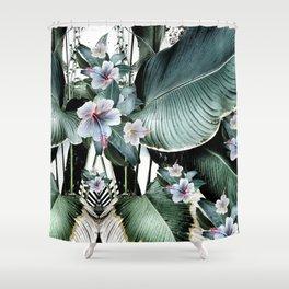 Banana leaf tropical paradise, leaves, hibiscus, Hawaii Shower Curtain