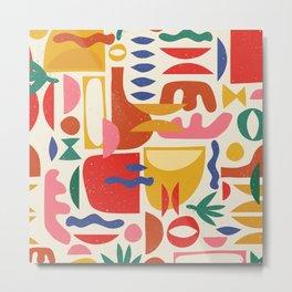 Mid Century Summer Abstraction Pattern Metal Print