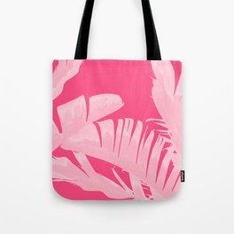 Chill Pink Tropical Banana Leaves Design Tote Bag