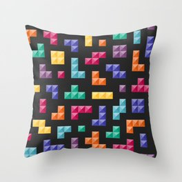 Tetris bricks jewel tones on black pattern Throw Pillow