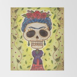 Frida Day of the Dead Throw Blanket
