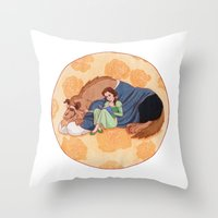 beauty and the beast Throw Pillows featuring Beauty and the Beast by Naineuh
