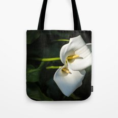Close-up of Giant White Calla Lily Tote Bag