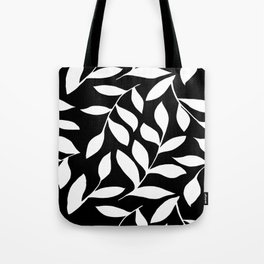 WHITE AND BLACK LEAVES DESIGN PATTERN Tote Bag