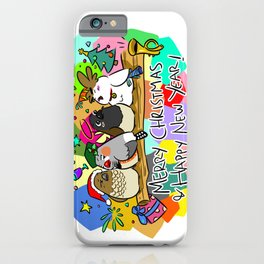 Merry Christmas Finches iPhone Case