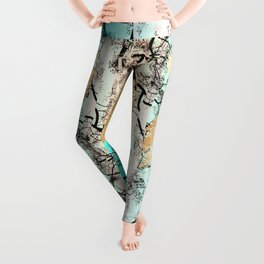 Modern tree sky blue gold brushstroke photography glitch Leggings