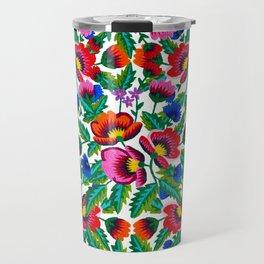 Grandmommy Flowering Bouquet - Poppy Centaurea Violet - Green Leaves Blossom Satin Stitch Embroidery Travel Mug
