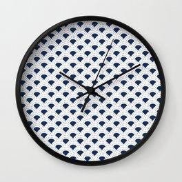 Blue and white Japanese style geometric pattern Wall Clock