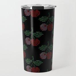 Cherry Cross Stitch Pattern on black Travel Mug