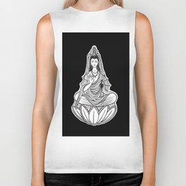 Chinese god. Beautiful goddess. Peace. Beauty concept. Meditation. Healing concept. Chinese medicine Biker Tank