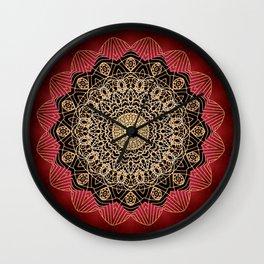 Boho chic Red Gold Mandala Wall Clock