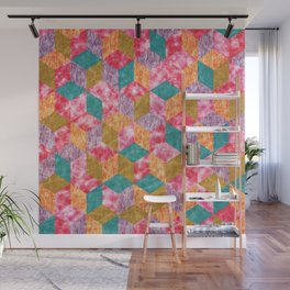 Colorful Isometric Cubes IX Wall Mural