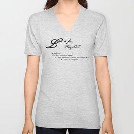 L is for Langball, Minimalist Elegant Dictionary Style Irish Cursing Typography Unisex V-Neck