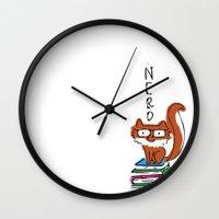 nerd Wall Clocks featuring Nerd by Anabella Nolasco