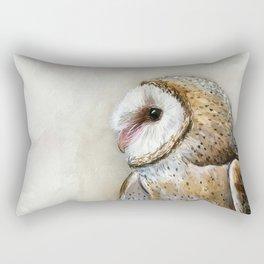 Barn Owl Watercolor, Birds Of Prey Wild Animals Owls Rectangular Pillow
